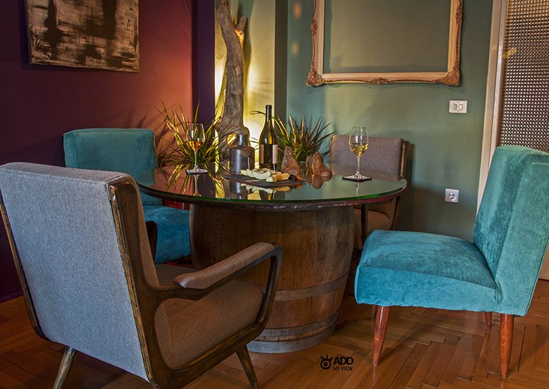 Dining Table from an oak wine barrel and plywood