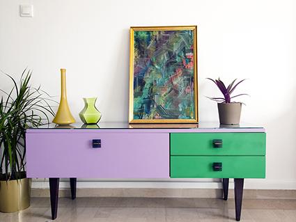 Ανακυλώσιμη Τέχνη - 70's Modern Multi-colored Buffet
