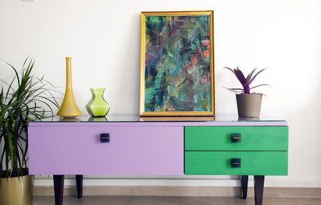Salvage Art - 70's Modern Multi-colored Buffet_en
